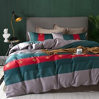 Fashionable Stripes Printed  Cotton Fashion Silky Soft Bedding Set
