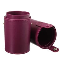 Hot Empty Portable Makeup Brush Round Pen Holder Cosmetic Tool PU Leather Cup Container Solid Colors 4 Optional Case