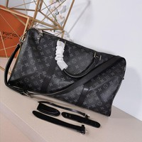Kuyou Lv Louis Vuitton Gb29714 M40605 Monogram Eclipse Canvas Gifts The Essentials Keepall Bandouli¨¨re 55