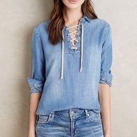 Cloth & Stone Lace-Front Chambray Top in Dark Denim Size: