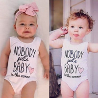 Rompers One-Pieces Newborn Baby Girls Boys Clothing Summer White Short Sleeve Jumpsuit Romper Cotton Letter Printed 0-24M