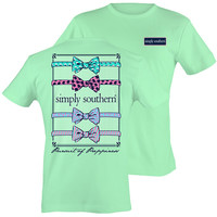 Simply Southern Preppy Multi Bow Pattern Mint T-Shirt