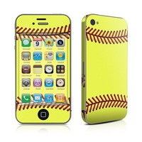 Softball Design Protective Decal Skin Sticker (High Gloss Coating) for Apple iPhone 4 / 4S 16GB 32GB 64GB