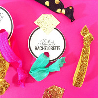 Customized Single Set 1 card Hair Ties Bachelorette Party Favors Accessories Small Glitter Diamond To have and To hold your hair back