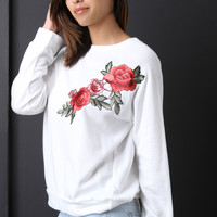 Embroidered Rosette Patch Sweatshirt