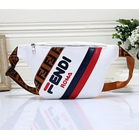 FENDI Fashion Women Men Leather Waist Bag Chest Bag Shoulder Bag Satchel Crossbody White