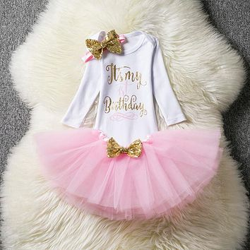 Summer Born Baptism Baby Girl Dress Tutu Baby Clothes for 1st Birthday Party Princess Outfits Headband