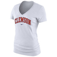Clemson Tigers Nike Women's Arch Cotton V-Neck T-Shirt - White