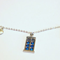 Doctor who Tardis Whovian charm bracelet Blue box Police box with key , heart, cactus and globe