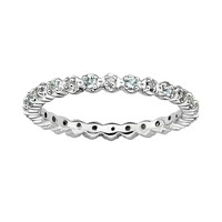 Stacks & Stones Sterling Silver Aquamarine & Diamond Accent Stack Ring (Blue)