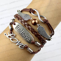 Coffee jewelry wings, infinity, love, believe that charm bracelets, gift for girlfriend and boy