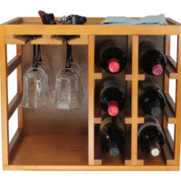 Stackable Bottle And Wine Glass Rack Countertop Kitchen Furniture Natural Finish