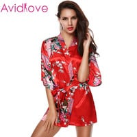 Avidlove Sexy Female Printed Floral Kimono Dress Gown Chinese Style Faux Silk Satin Robe Nightgown Flower M L XL XXL 14 Colors