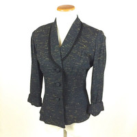 50s Black Fitted Jacket Rope Trim 3/4 Sleeves Womens Size Small