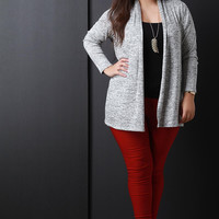 Marl Knit Leather Elbow Pads Cardigan