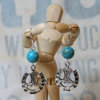 Lucky Horseshoe and Cowboy Boot EarringsHorse Shoes Dangles Cowgirl Texan Western Southwest Southwestern
