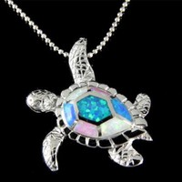 INLAY TRICOLOR OPAL HAWAIIAN SEA TURTLE SLIDE PENDANT 925 STERLING SILVER 23MM