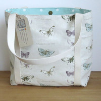 Butterfly tote bag, Canvas shoulder bag, Re-usable shopping bag, Gift for her, Butterfly Lover birthday present, Womens handbag, Large ourse