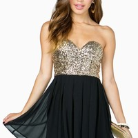 Deep V Bustier Sequin Flare Dress