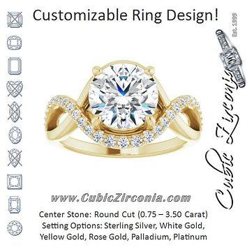 Cubic Zirconia Engagement Ring- The Kwan Lee (Customizable Round Cut Design with Semi-Accented Twisting Infinity Bypass Split Band and Half-Halo)