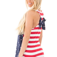 Navy Star Spangled Bow Back Tank with Striped Back