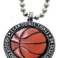 """Forgiven Jewelry - Colorful Orange Basketball Pendant Necklace """"I Can Do All Things Through Christ"""":Amazon:Jewelry"""