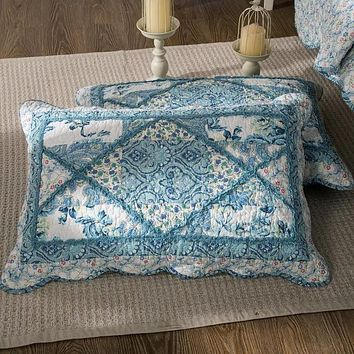 Tache Cotton Patchwork White Blue Floral Scalloped Petal Dance Pillow Sham (JHW-646)