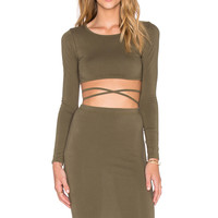 REVERSE Cross Your Heart Set in Army Green