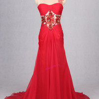 2016 Long Red FLOWER Evening Dresses, One Shoulder Prom Dresses, Beaded Sweep/Brush Wedding Gowns,Backless Chiffon Bridesmaid Dresses,