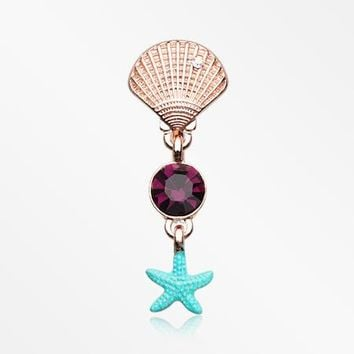 Rose Gold Ariel's Shell Starfish Sparkle Reverse Belly Button Ring
