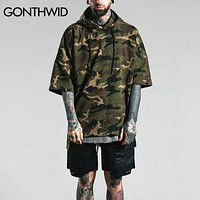 Camouflage Short Sleeve Hoodies Men Summer Hip Hop Military Pullover Hooded Sweatshirts Street wear
