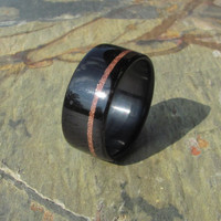 Copper Shavings Inlay in Ebony Bentwood Ring