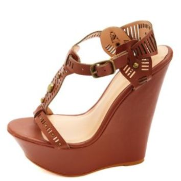 Studded Cut-Out T-Strap Wedge Sandals by Charlotte Russe - Cognac