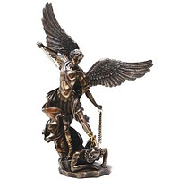 St. Michael The Archangel Slaying the Devil Bronze Finish Statue 14.5H