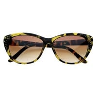 Ladies Womens  Glam Cat Eyes Studded Sunglasses Cateye Glasses