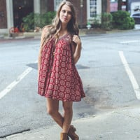 Medallion Sundress in Burgundy