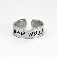 Bad Wolf Ring, Doctor Who Inspired Hand Stamped Aluminum Adjustable Cuff Style Ring, Custom Made Gift. Ring, Dr. Who Ring, Whovian Jewelry