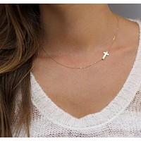 Cross necklace ladies short section gold plated clavicle necklace