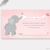 Elephant Diaper Raffle Ticket Printable, Baby Shower Game, Insert for Girl, Light Pink and Grey Elephant with Birds banner, Instant Download