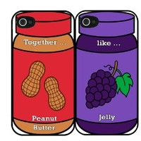 Together like Peanut Butter and Jelly Best Friends Set i4 iPhone 4 4s Hard Case