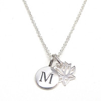 Silver Initial & Lotus Charm Necklace