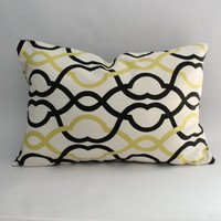 Modern Pillow Cover: Pea Green, Black, and White Moroccan-inspired lattice print throw pillow cover--12 x 18 inch lumbar--READY TO SHIP