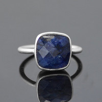 Faceted Sapphire sterling silver cushion square shape stacking bezel set ring - September Birthstone
