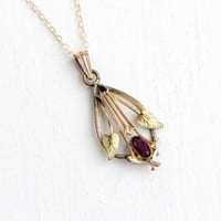 Antique Gold Filled Simulated Amethyst Leaf Pendant Necklace- Vintage Lavalier Art Nouveau Pendant Early 1900s Jewelry