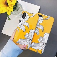 Yellow Floral Glossy iPhone Case