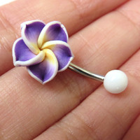 Belly Button Ring Jewelry. Purple Hawaiian Flower Plumeria Belly Button Ring Hawaii Navel Stud Jewelry Bar Piercing Pink Tropical Hibiscus