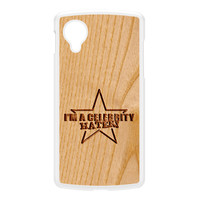 Carved on Wood Effect_Celebrity Hater White Hard Plastic Case for Google Nexus 5 by Chargrilled