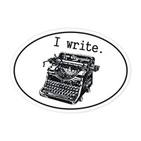 i write typewriter bumper sticker
