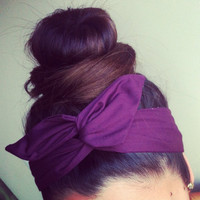 Solid Purple Dolly Bow Headband