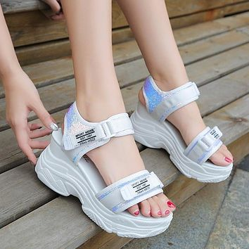 Fashion sponge cake thick bottom fish mouth cool velcro to increase breathable wedge heel women's shoes